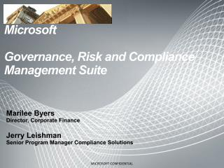 Microsoft Governance, Risk and Compliance Management Suite