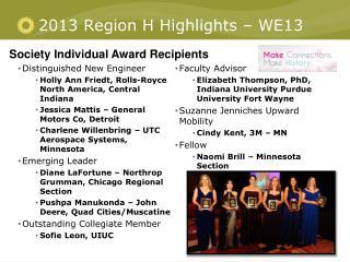 2013 Region H Highlights –  WE13