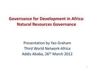 Governance for Development in Africa: Natural Resources Governance
