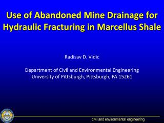 Use  of Abandoned Mine Drainage  for Hydraulic Fracturing in Marcellus Shale
