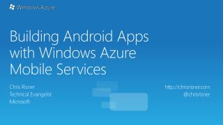 Building Android Apps with Windows Azure Mobile Services