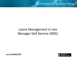 Leave Management in neo Manager Self  Service  (MSS)