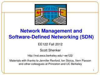 Network  Management and  Software-Defined Networking (SDN)