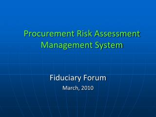 Procurement Risk Assessment Management System