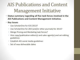 AIS Publications and Content Management Initiative