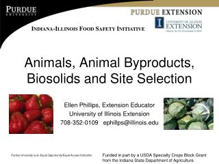 Animals, Animal Byproducts,  Biosolids and Site Selection
