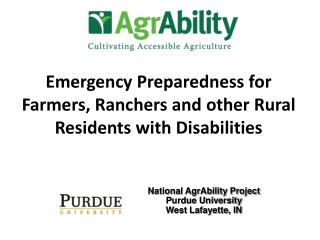 Emergency Preparedness for Farmers, Ranchers and other Rural Residents with Disabilities