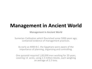 Management in Ancient World