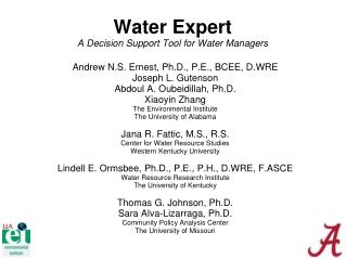 Water Expert A Decision Support Tool for Water Managers