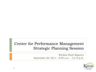 Center for Performance Management Strategic Planning Session