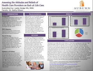 Assessing the Attitudes and Beliefs of  Health Care Providers on End-of-Life Care Submitted by: Leslie Hodge RN, MS