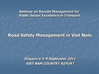 Seminar on Results Management for Public Sector Excellence in Transport