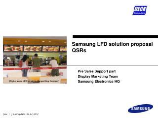 Samsung LFD solution proposal QSRs