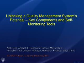 Unlocking a Quality Management System's Potential – Key Components and  Self-  Monitoring Tools