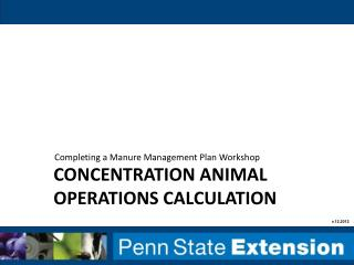 concentration animal operations calculation