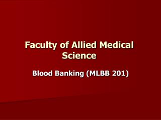 Faculty of Allied Medical Science