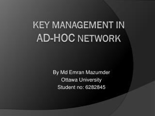 KEY MANAGEMENT in  Ad-Hoc  network