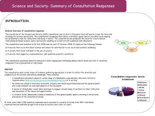 Science and Society: Summary of Consultation Responses