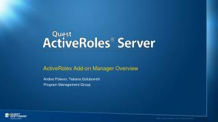 ActiveRoles Add-on Manager Overview
