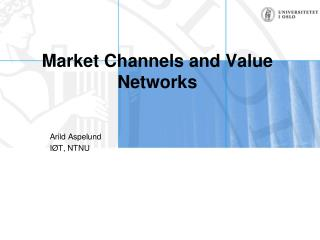 Market Channels and Value Networks