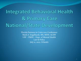Integrated Behavioral Health & Primary Care National/State Development