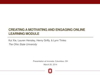 Creating a motivATing and engaging online learning module