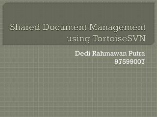 Shared Document Management using  TortoiseSVN