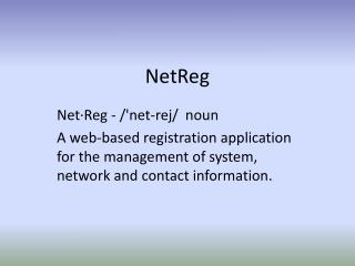 NetReg