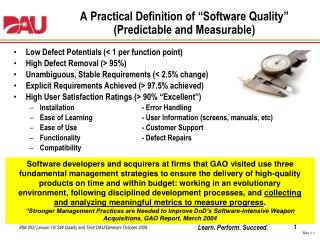 "A Practical Definition of ""Software Quality"" (Predictable and Measurable)"