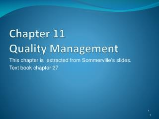 Chapter 11 Quality Management