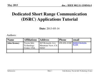 Dedicated Short Range Communication (DSRC) Applications Tutorial