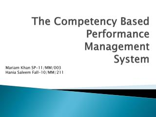 The Competency Based Performance Management System