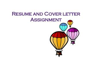 Resume and Cover letter Assignment