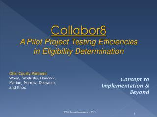 Collabor8 A Pilot Project Testing Efficiencies in Eligibility Determination
