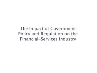 market regulation and reforms