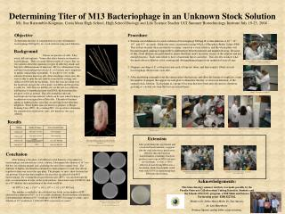 Determining Titer of M13 Bacteriophage in an Unknown Stock ...