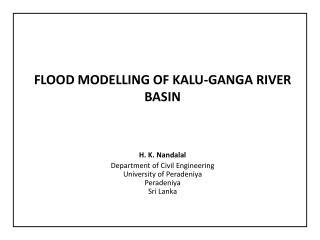 flood  Modelling of Kalu-Ganga river basin