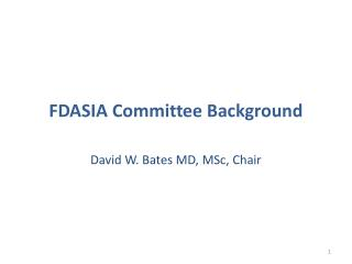FDASIA Committee Background