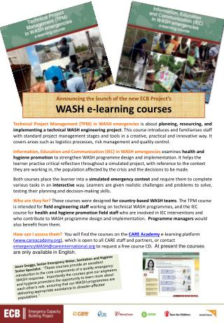 Announcing the launch of the new ECB Project's WASH e-learning courses