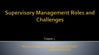 Supervisory Management Roles and Challenges