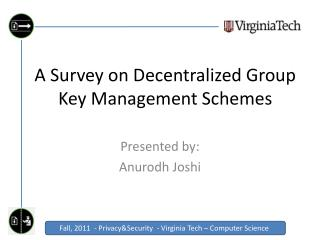 A Survey on Decentralized Group Key Management Schemes