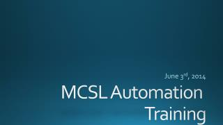 MCSL Automation  Training