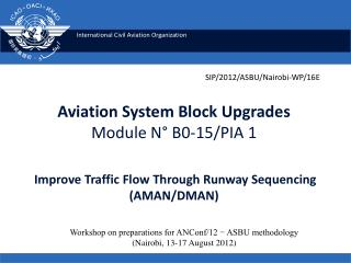 Aviation System Block Upgrades Module N° B0-15/PIA 1 Improve Traffic Flow Through Runway Sequencing (AMAN/DMAN)