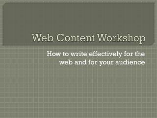 Web Content Workshop