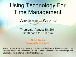 Using Technology For  Time Management
