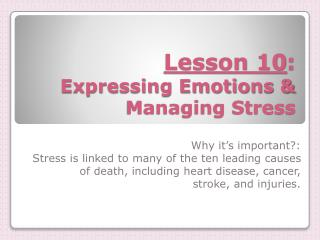 Lesson 10 :  Expressing Emotions & Managing Stress