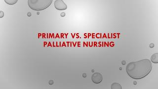 primary  vS.  specialist Palliative Nursing