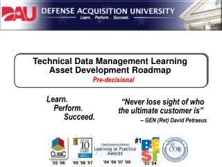 Technical Data Management Learning Asset Development Roadmap