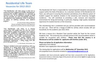 Residential Life Team Vacancies for 2012-2013