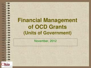Financial Management of OCD Grants (Units of Government)